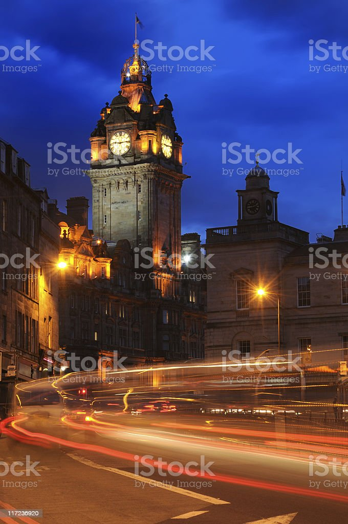 Balmoral Hotel At Night royalty-free stock photo