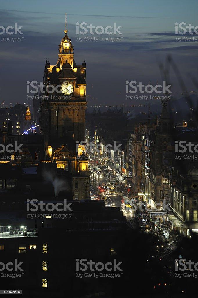 Balmoral Hotel, Princes Street, Edinburgh, at dusk royalty-free stock photo