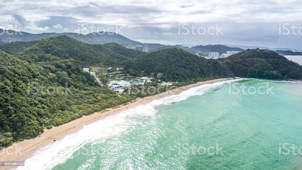 Balneário Camboriú, Santa Catarina, Brasil. Vista aérea da praia do amor. - foto de acervo