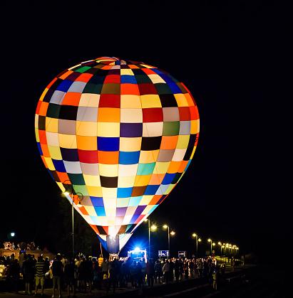 colorful baloon vehicle at night
