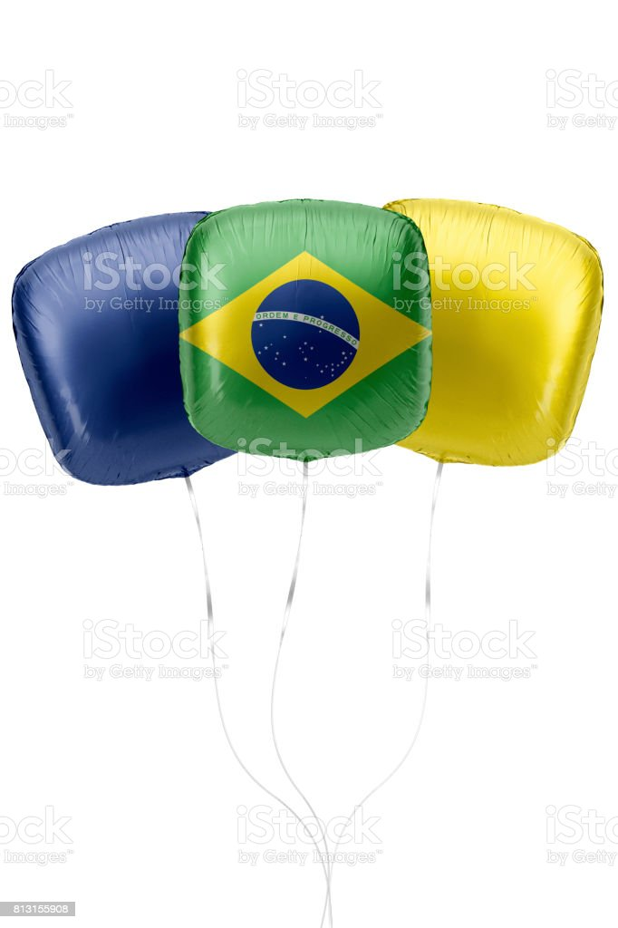 Baloons Represent Brazil Flag are Floting Against White Background stock photo