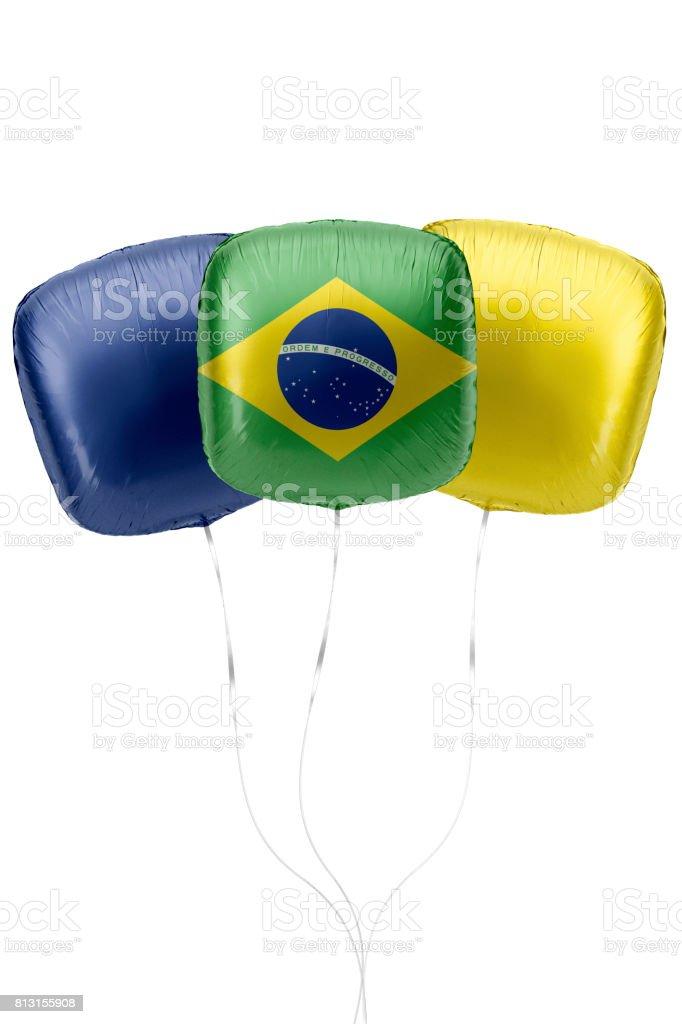 Baloons representam bandeira Brasil são Floting contra o fundo branco - foto de acervo