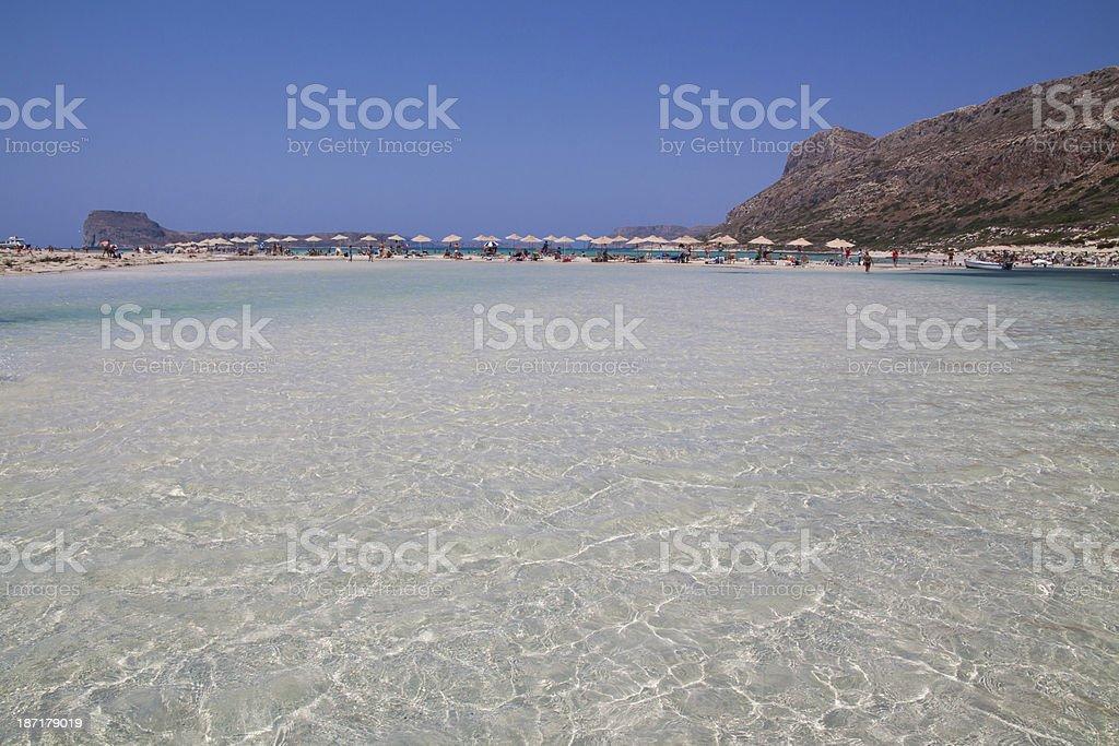 Balos beach and  Gramvousa Island, Crete in Greece. stock photo