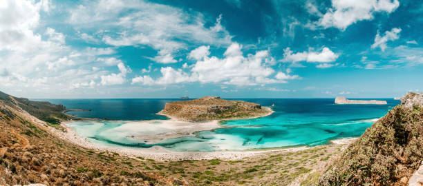 Balos beach and paradise island in Crete, Greece stock photo