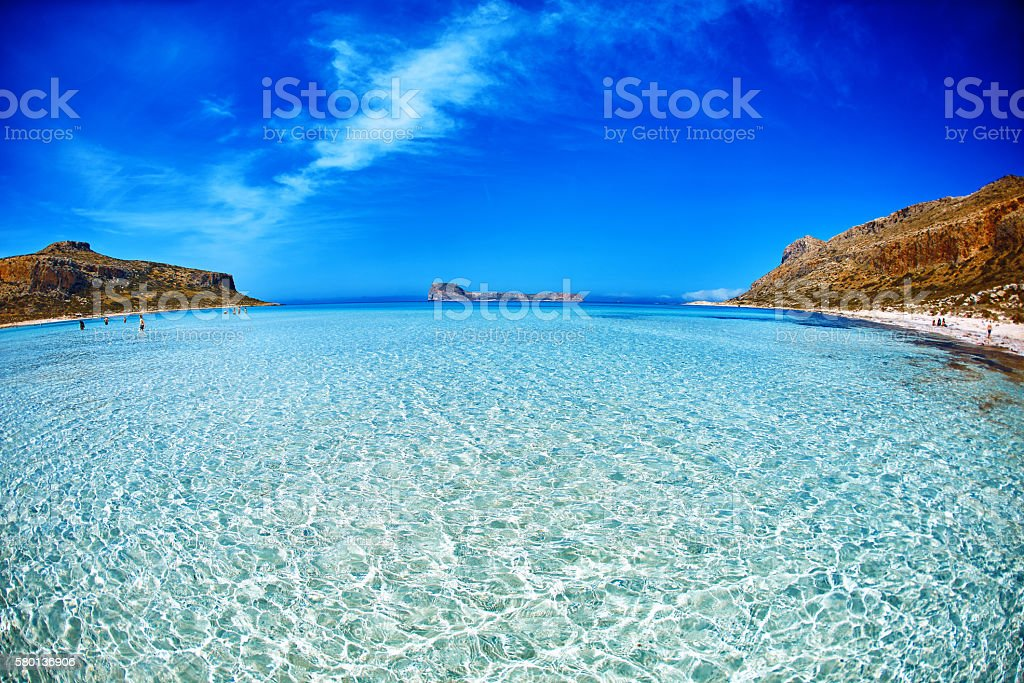 Balos beach, Crete. sand under water and blue sky stock photo