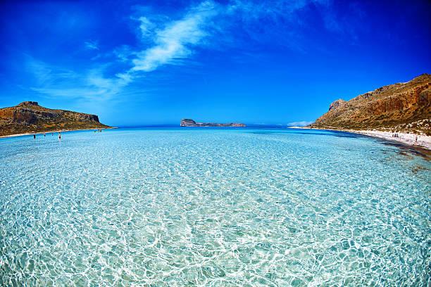 Balos beach, Crete. sand under water and blue sky stock photo