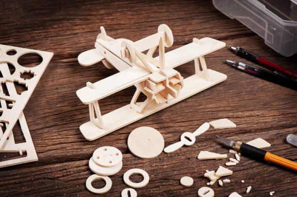 balsa wood model stock photo