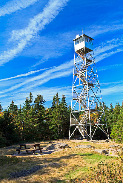 """Balsam Lake Mountain Fire Tower """"The Fire tower atop Balsam Lake Mountain, oneof the highest viewpoints in the Catskills Moutnains of New York."""" catskill mountains stock pictures, royalty-free photos & images"""