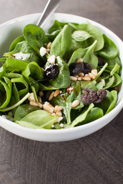 Balsamic Spinach Salad side view stock photo