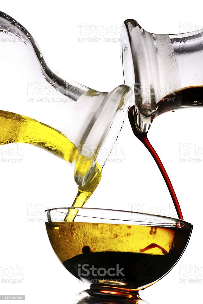 balsamic vinegar and olive oil dressing stock photo