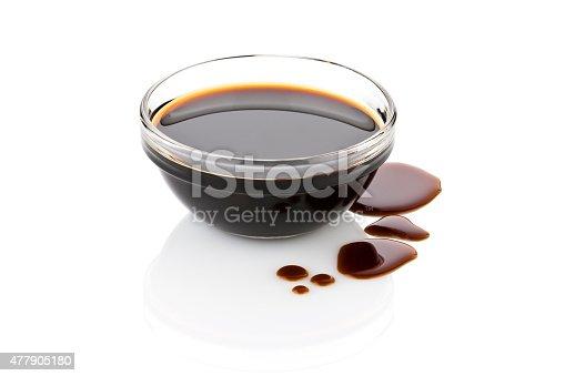 Balsamic vinegar in glass bowl with spills isolated on white backdrop.  DSRL studio photo taken with Canon EOS 5D Mk II and Canon EF 70-200mm f/2.8L IS II USM Telephoto Zoom Lens