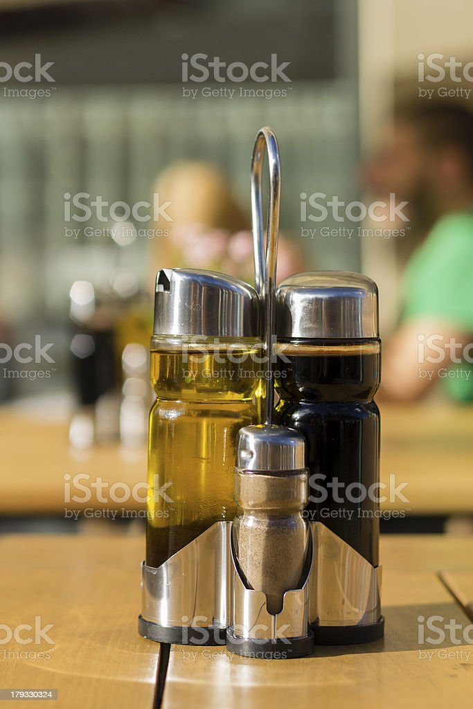 Balsamic vinegar, olive oil and pepper royalty-free stock photo