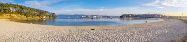 Baltar beach and Portonovo village stock photo