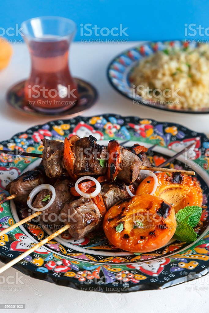 Balti lamb cooked with yoghurt and spices, caramom dried apricots royalty-free stock photo