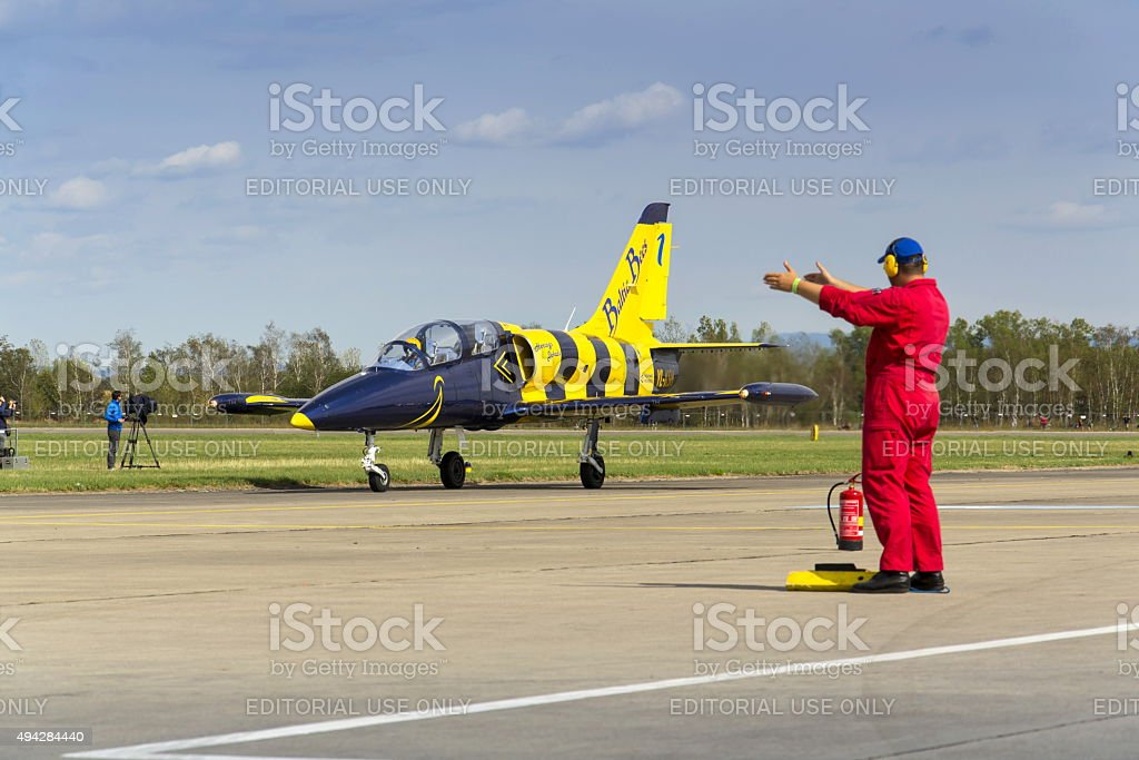 Baltic Bees Jet Team with L-39 planes rolling on runway stock photo