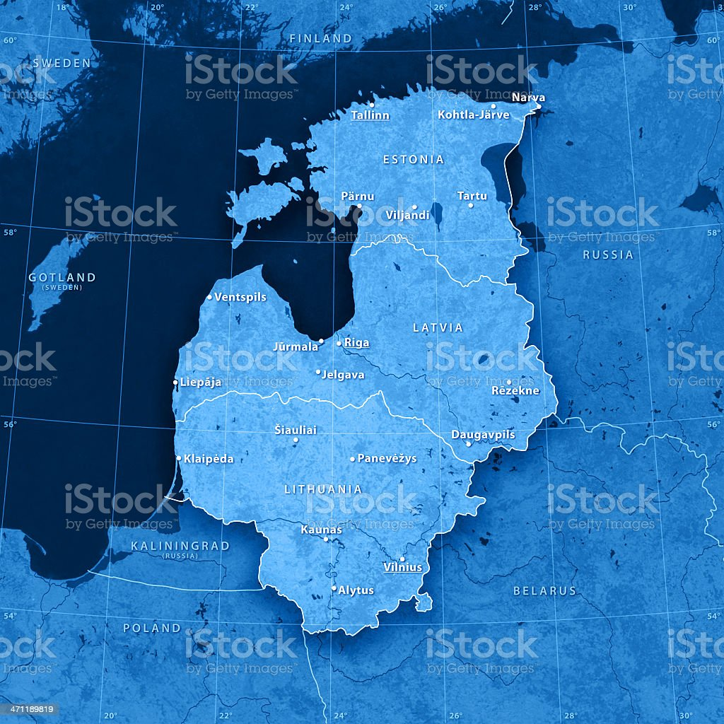 Baltic Countries Topographic Map stock photo