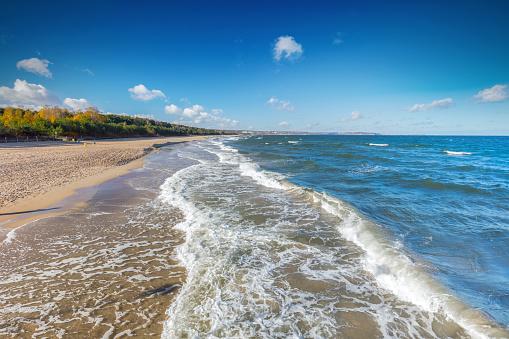 Baltic sea and the Gulf of Danzig coast in Poland.