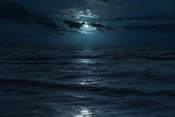 Baltic sea at moonlight stock photo
