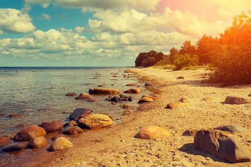 Baltic sea coast at sunset