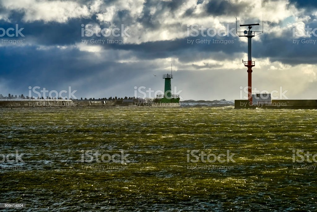 Baltic sea during the storm,  Poland stock photo