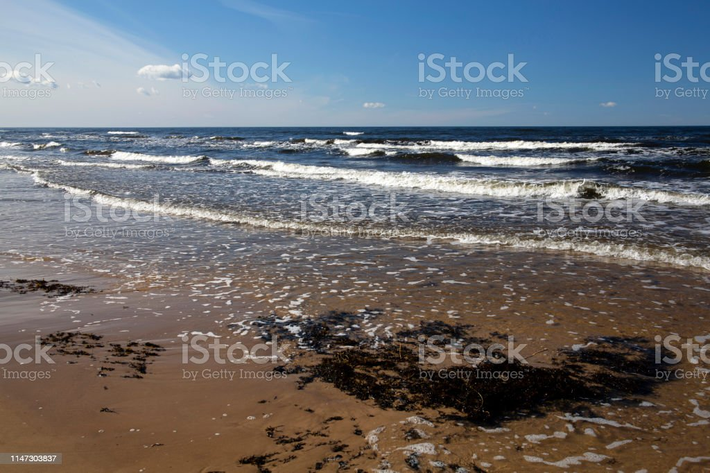 Baltic Sea shore on cold windy sunny afternoon in April - Royalty-free April Stock Photo