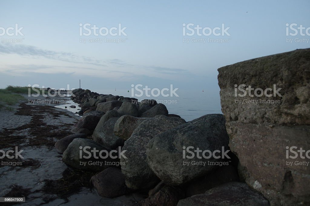 Baltic Sea stone wall royalty-free stock photo