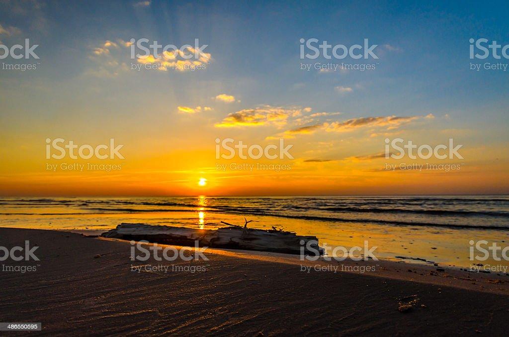 Baltic sea sunset coastline near Riga stock photo
