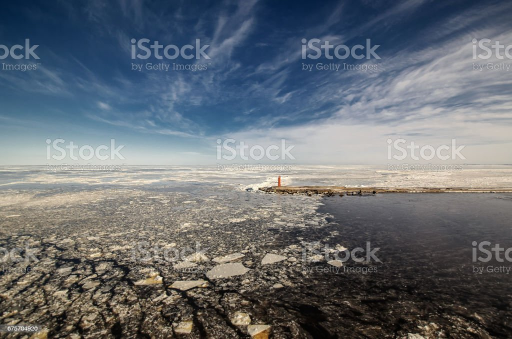 Baltic Sea. Swedish coast. Winter seascape with islands. royalty-free stock photo
