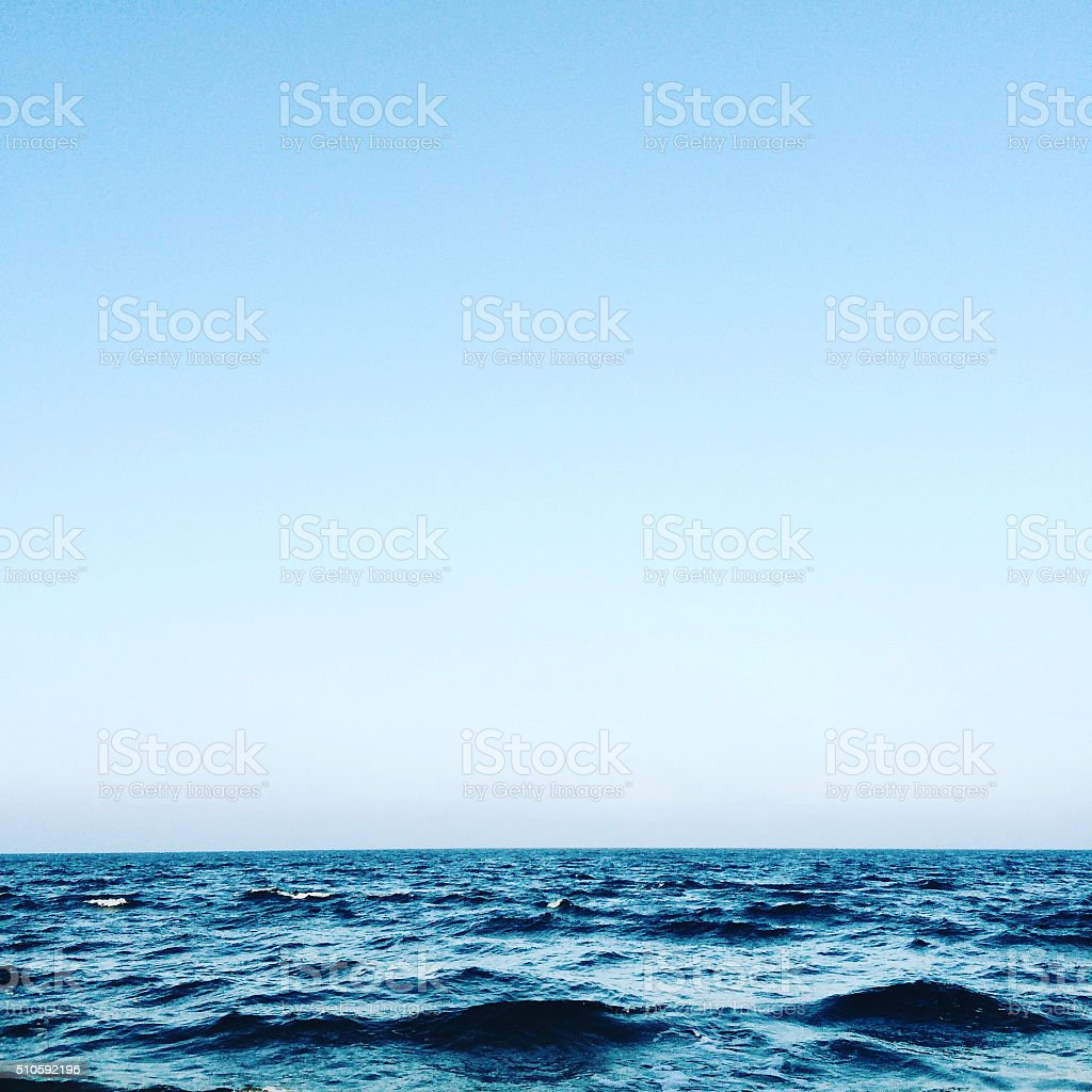 Baltic sea with clear blue sky stock photo