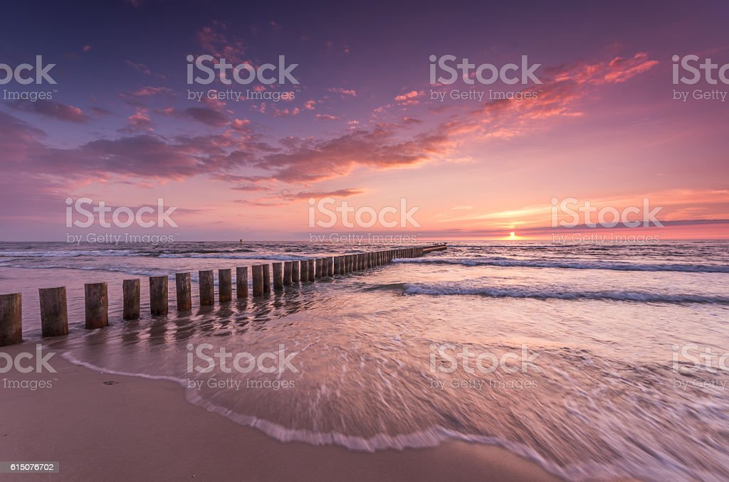 Baltic seascape at sunset, Poland stock photo