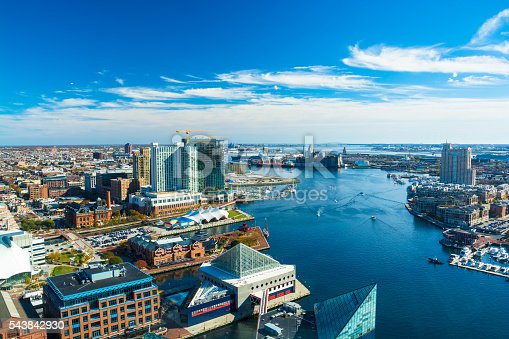 Aerial of Baltimore City with the Patapsco River and waterfront buildings.  Harbor East and Fells Point neighborhoods is shown on the left and the Tide Point neighborhood is shown on the right.