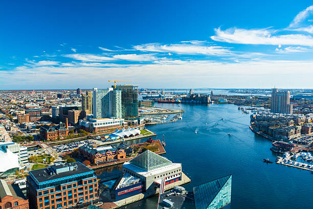 Baltimore Aerial with Patapsco River / Waterfront stock photo