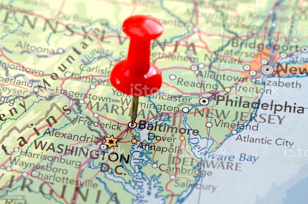 Baltimore city map stock photo