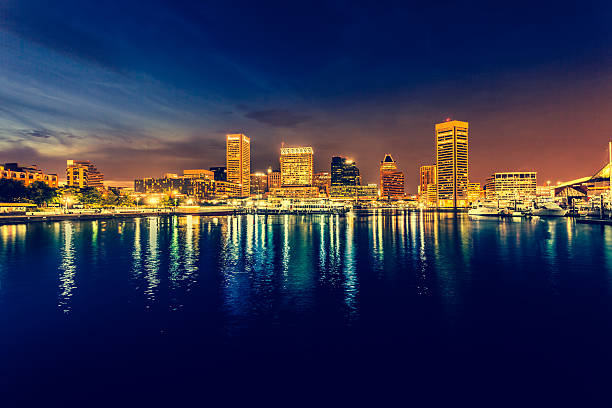 Baltimore Cityscape at Night, Maryland, USA Baltimore waterfront in USA inner harbor baltimore stock pictures, royalty-free photos & images