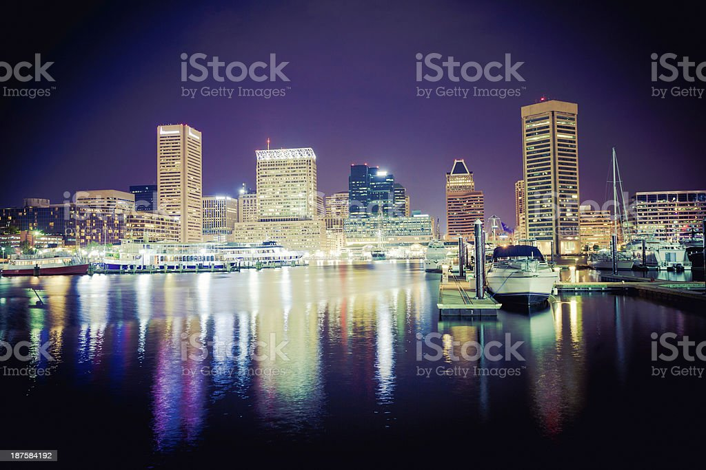 Baltimore Cityscape by Night, Maryland, USA royalty-free stock photo