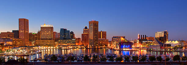 Baltimore Cityscape Baltimore Cityscape.  An HDR image from three exposures. inner harbor baltimore stock pictures, royalty-free photos & images