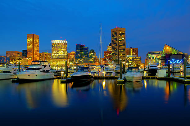 Baltimore Cityscape / Skyline Baltimore Maryland at Dusk (HDR) inner harbor baltimore stock pictures, royalty-free photos & images