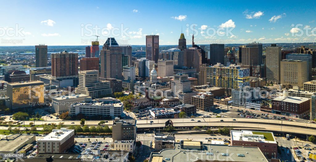 Baltimore Downtown Aerial w/ City Hall and Expressway stock photo