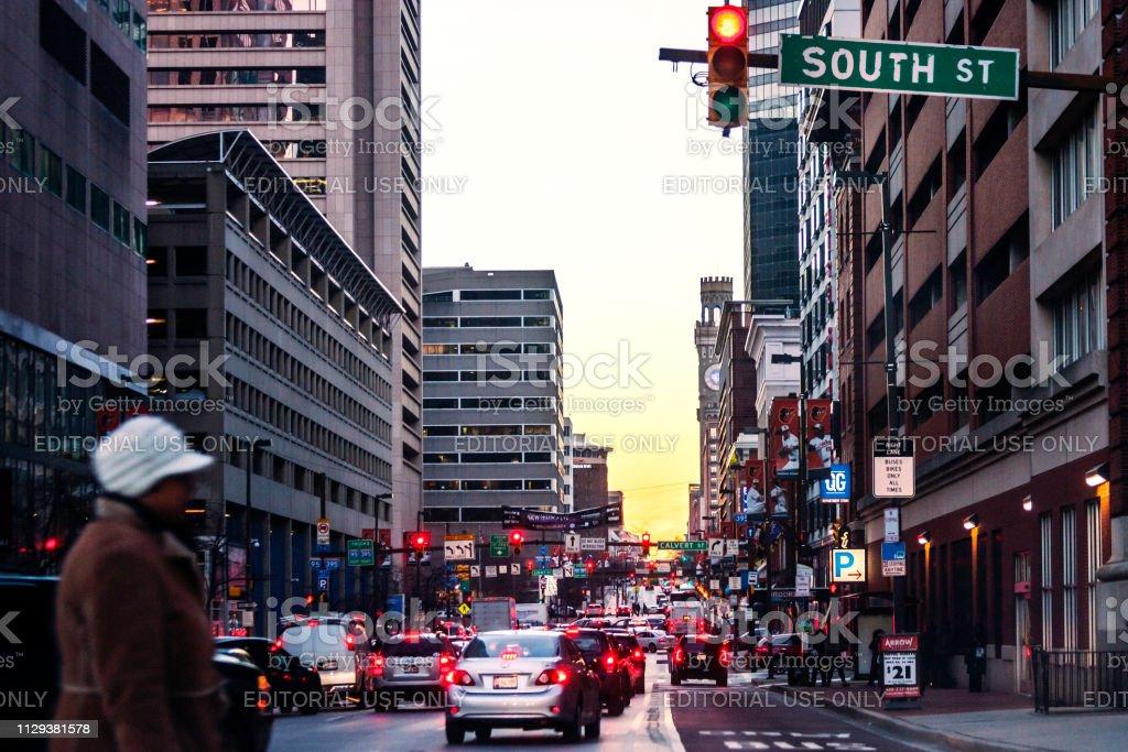 Baltimore downtown traffic at sunset time stock photo