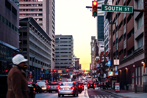 Baltimore Downtown Traffic At Sunset Time Stock Photo - Download Image Now