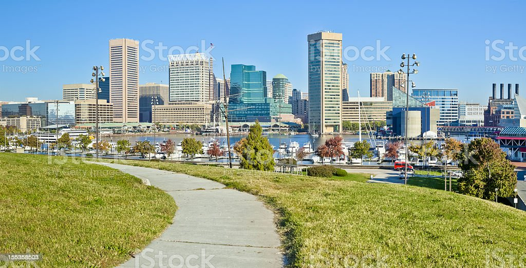 Baltimore, Federal Hill Inner Harbor View stock photo