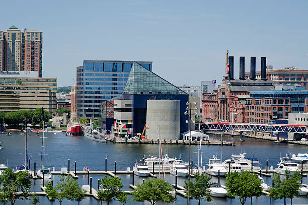 Baltimore Harbor and the National Aquarium stock photo
