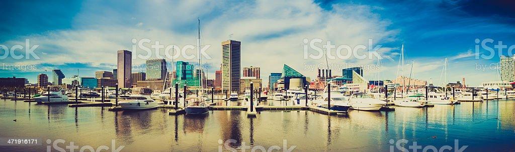 Baltimore Harbor Cityscape, Maryland, USA stock photo