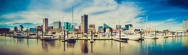 Baltimore Harbor Cityscape, Maryland, USA Baltimore waterfront in USA, panorama image inner harbor baltimore stock pictures, royalty-free photos & images