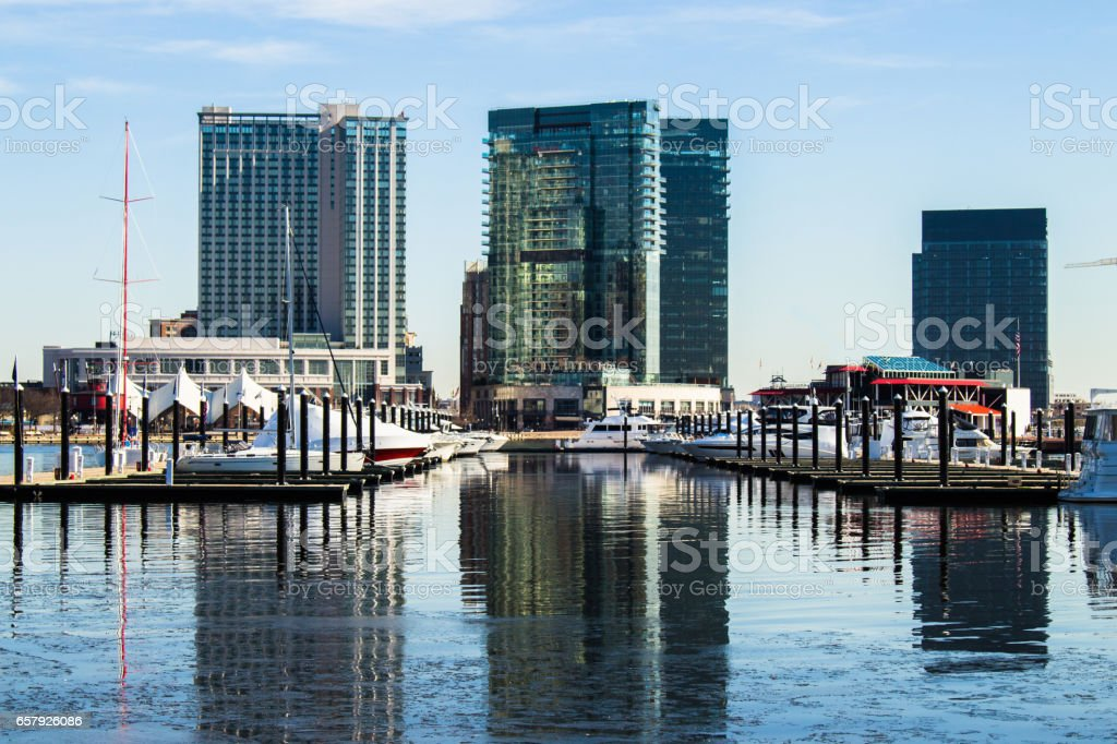 Baltimore Harbor Reflections stock photo