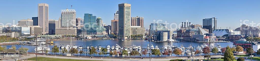 Baltimore Inner Harbor Panorama - Trees and Skyscrapers stock photo
