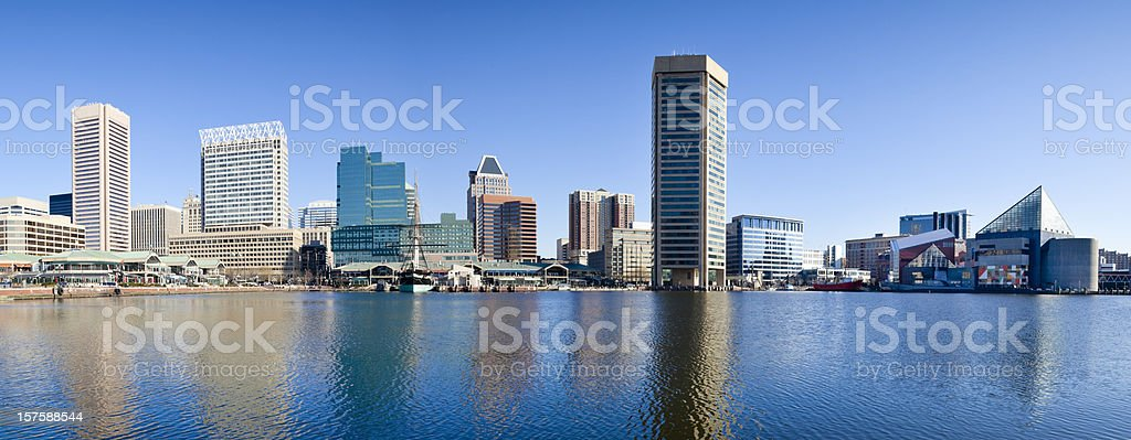 Baltimore Inner Harbor With Reflections in Early Morning - Panorama stock photo