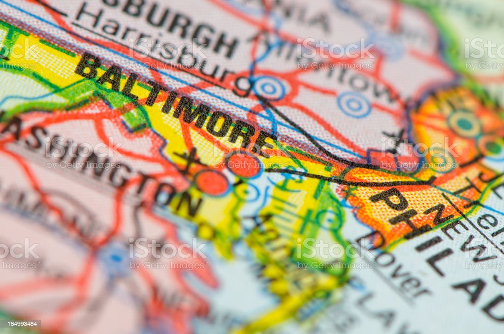 Baltimore map stock photo