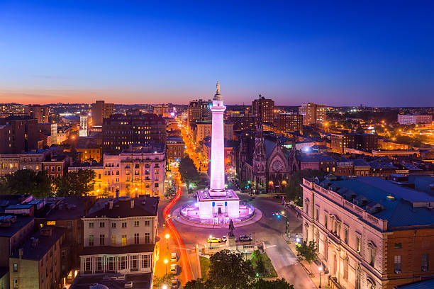 Baltimore, Maryland at Vernon Place Baltimore, Maryland, USA cityscape at Mt. Vernon and the Washington Monument. baltimore maryland stock pictures, royalty-free photos & images