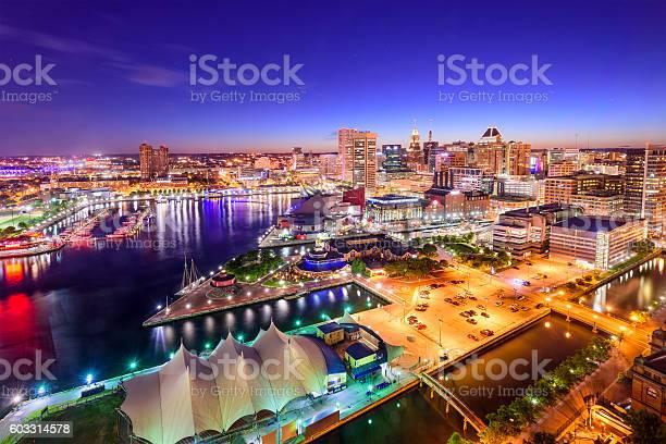 Baltimore Maryland Inner Harbor Skyline Stock Photo - Download Image Now